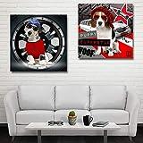 ganlanshu Arte de la Pared Abstracto Animal de Dibujos Animados Perro música Imagen Cartel decoración de la habitación de los niños,Pintura sin Marco,60X60cmx2