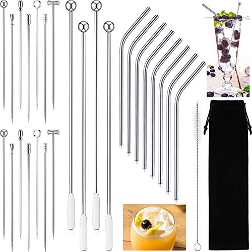 Baderke 30 Pieces Stainless Steel Cocktail Picks Swizzle Stick and Straws Set Reusable Cocktail Skewers Martini Toothpicks Coffee Beverage Stirrers Stainless Steel Straw Cleaning Brush and Bag