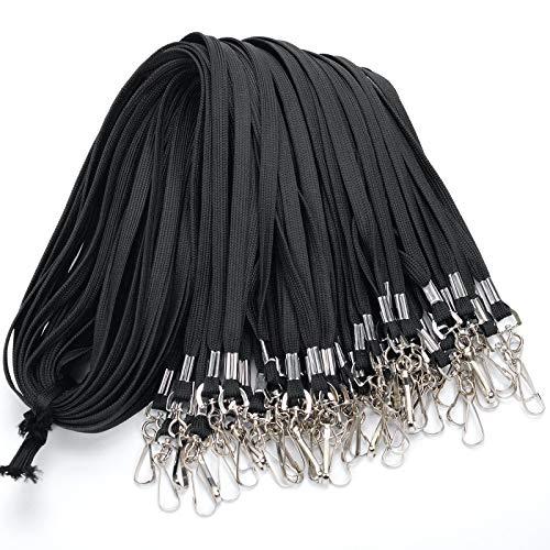 Lot de 50 cordons de cou plats de 81,9cm en coton avec crochet pivotant pour porte-clés, cartes d'identité, etc. 50 Noir
