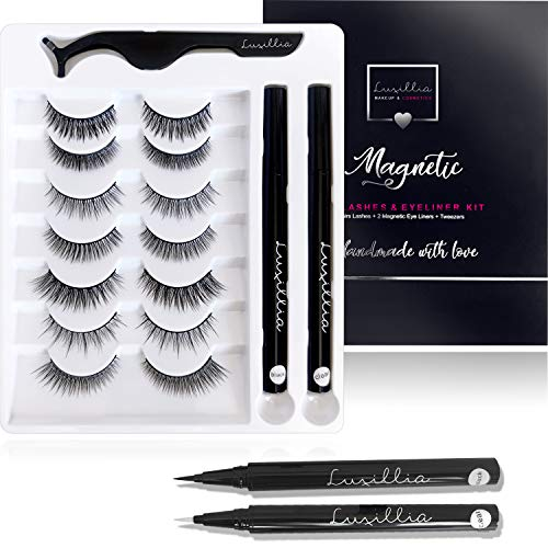 (7 Sets Lashes + 2 Pen Liners) Luxillia by Amazon Magnetic Eyeliner and Eyelashes Kit - 8D Natural Look Eyelash Without Magnet - Reusable Eye Lash with Waterproof Liner, Clear and Black, Applicator