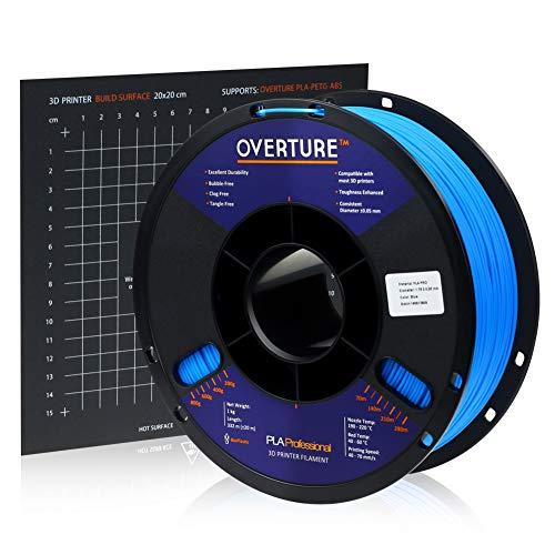 Overture PLA Plus (PLA+) Filament 1.75mm PLA Professional Toughness Enhanced PLA Roll with 3D Build Surface 200 x 200mm, Premium PLA 1kg Spool (2.2lbs), Dimensional Accuracy +/- 0.05 mm (Blue)