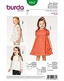 Burda 9362 Schnittmuster Bluse, Kleid, Hängerchen und eingereihter Rock mit Saumrüsche (Kids, Gr. 92 122) Level 2 leicht