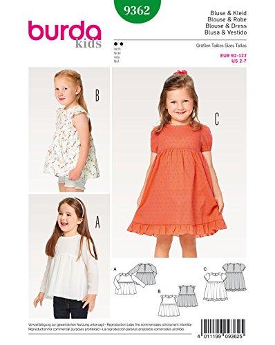 Burda 9362 Schnittmuster Bluse, Kleid, Hängerchen und eingereihter Rock mit Saumrüsche (Kids, Gr. 92-122) Level 2 leicht