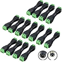 DC Power Connector 20 Pairs CCTV Power connectors 12V Male+Female 2.1x5.5MM DC Power Jack Plug Adapter Connector for CCTV ...