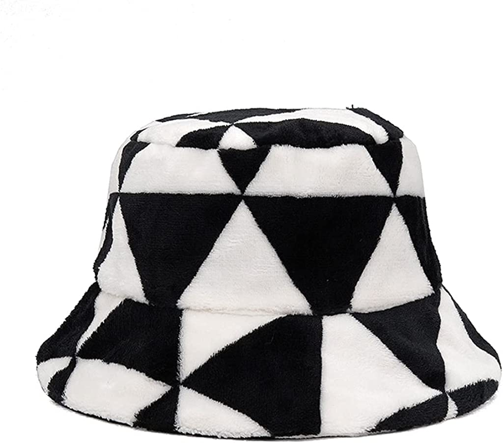 Bucket Hat with Plaid Pattern Fluffy Fisherman Cap Winter Autumn Outdoor Panama for Men Women with Flat Top Birthday Gift