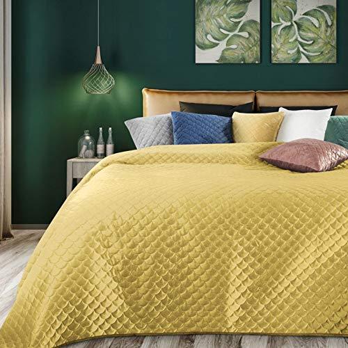 Eurofirany Weiche Tagesdecke Ariel Gesteppter Bettüberwurf Steppung Art Deco Muster Ganzjährig Samt Einfarbige Steppdecke Quilt (Senf, 220 x 240 cm)