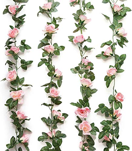 2 Pack (16FT) Artificial Rose Vine Flowers Plants Pink Fake Flower Vine for Wedding Home Party Garden Craft Art Decor Pink