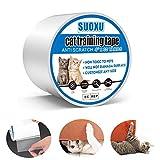SUOXU - Cinta adhesiva para patas de gato, transparente, de doble cara, resistente a los arañazos, para alfombras, sofás, puertas, muebles de encimera, tapetes protectores (4 pulgadas x 30 yardas)