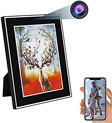 ZDMYING Photo Frame Camera HD 1080P Nanny Cam Wireless Photo Frame Camera Motion Detection & Night Vision Support Android/iOS