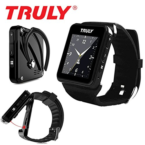 Truly staccabile Smart Watch Phone per iPhone 5S/6/6S iOS o Android Bluetooth Smartwatch nero