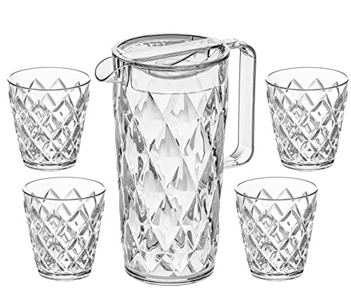Koziol Kanne Crystal 1,6l transparent klar im Set mit 4 Bechern Crystal S 0,2l transparent klar