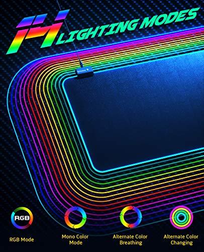 UtechSmart - Alfombrilla de ratón para videojuegos con 14 modos de iluminación, 2 niveles de brillo, alfombrilla para… 2