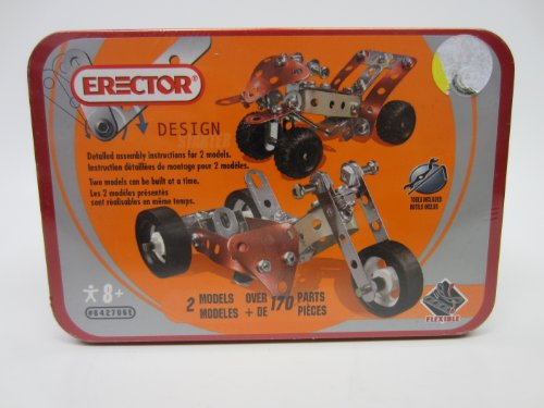 Erector Design by Schylling 842706e Sidecar Set Motorcycle and 4 Wheeler 36150140 BLK