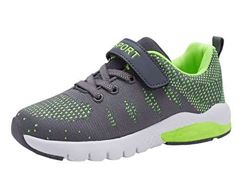 MAYZERO Kids Tennis Shoes Breathable Athletic Shoes Walking Running Shoes Fashion Sneakers for Boys Girls Grey Green