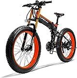 Bicicletas Eléctricas, 26' Electric bicicleta de montaña, 36V 250W 6AH batería de litio de la batería Ocultos Esquí de bicicletas, Doble disco de freno de aleación de bicicleta eléctrica (Color: Rojo)