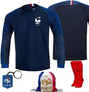 France Soccer Team Pogba Griezmann Mbappe Kid Youth Replica Jersey Kit : Shirt, Short, Socks, Bag, Key, Please Check Size Chart