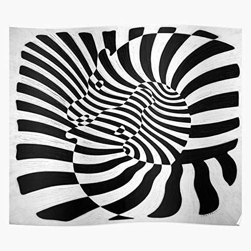 MADEWELL Art Op Zebra Monochrome Vasarely White Victor Black Abstract Das eindrucksvollste und stilvollste Poster für Innendekoration, das derzeit erhältlich ist