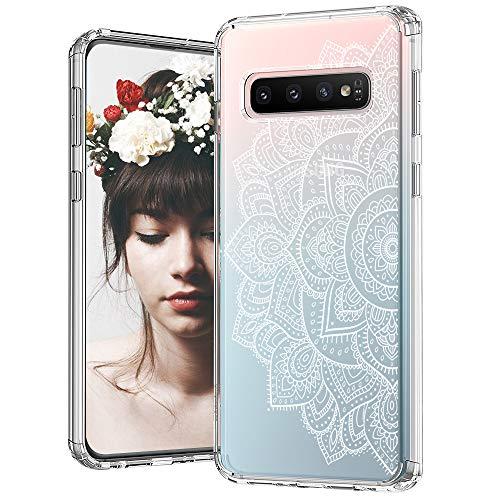 MOSNOVO Coque Galaxy S10, Blanc Mandala Henné Clair Design Motif Transparente Arrière avec TPU Bumper Gel Coque de Protection pour Samsung Galaxy S10 (Half White Mandala)