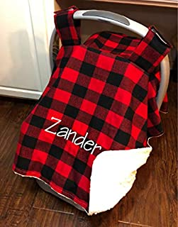 Car Seat Canopy Red Buffalo Check Plaid, Carseat Cover Blanket, Monogrammed Baby Shower Gift, Custom made