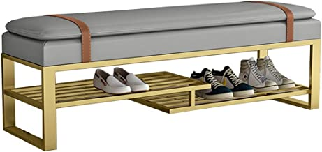 LJFYXZ Shoe Cabinet Bench Entryway Shoe Rack with Cushioned Seat, 2 Shelves Storage Bench Leather Bed Bench 100cm (Color :...