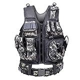YUNLONG Tactical Vest Airsoft 600D Cordura Fabric Detachable Pistol Holster for Adult Adjustable Lightweight Breathable Training Combat Vest (ACU)