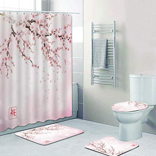 ZDDWLDL Duschvorhang-Set Weiße Rosa Pfirsichblüten Badezimmerteppich-Set 3D Gedruckter Duschvorhang Polyester Wasserdicht rutschfest Badvorleger WC-Deckelbezug 180x200 cm