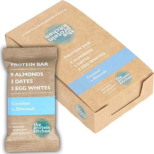 The Protein Kitchen 100% Natural Protein Bars - Coconut & Almonds - Pack of 12 (12 x 55g) - Contains No Artificial Flavour, Colour or Sweetener - with Peanuts, Dates and Egg Whites
