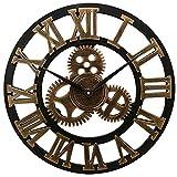 SGSG Reloj de Pared Silencioso Silencioso Oro y Plata Steampunk Gear Reloj de Pared Número Romano Grande 3D Retro Rústico País Reloj de Pared Arte Decorativo Reloj de Pared para casa