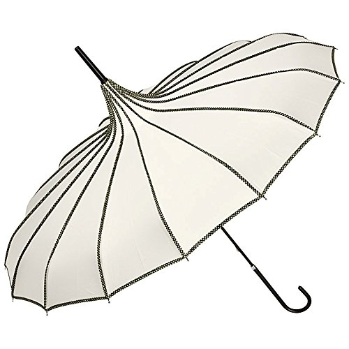 VON LILIENFELD Regenschirm Sonnenschirm Brautschirm Hochzeitsschirm Leicht Stabil Pagode Ziernähte Justine creme/ivory