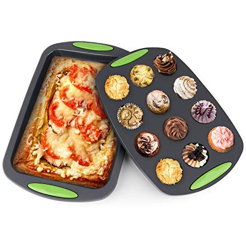 Meko - Molde de silicona para 12 magdalenas y tartas (antiadherente/lavavajillas, apto para microondas, aprobado por la FDA LFGB y sin BPA, negro, 2 unidades)