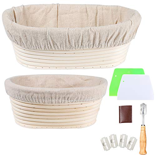 Set of 2 Oval Bread Proofing Baskets Natural Rattan Banneton Sourdough Rising Bowl Basket with Dough Scraper + Bread Lame + Cloth Liner for Bakery Home Bakers(9.5inch;8inch)