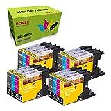 DOREE - Cartuchos de tinta compatibles con Brother LC1240 LC1280 DCP-J725DW DCP-J525W DCP-J925DW MFC-J430W MFC-J625DW MFC-J825DW MFC-J5910dw MFC-J6510DW MFC-J6710 MFC-J6910DW, color 4 juegos.