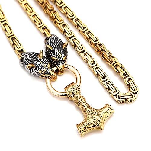 Collar con colgante de cabeza de lobo con martillo Thor Mjolnir para hombre, amuleto vikingo, cadena de acero inoxidable 316L con bolsa de regalo Valknut, oro, 61 cm