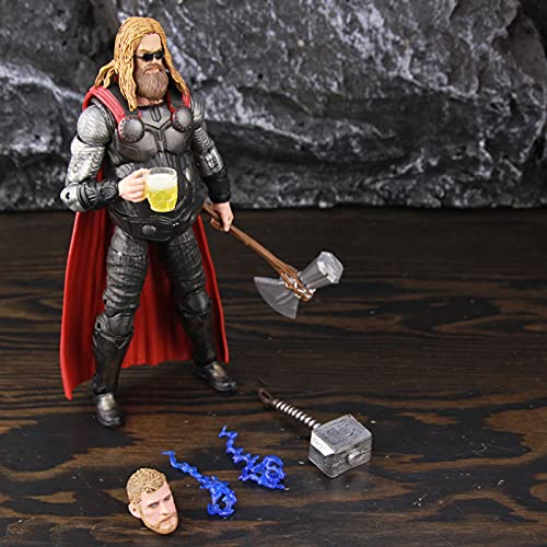 QWYU Avengers Endgame Fat Thor 6 ction Figure Accessorio Mjollnir Hammer Stormbreake Axe Occhiali Giocattoli Bambola
