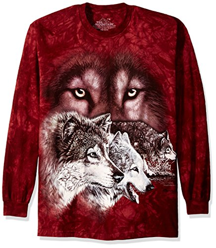 The Mountain Find 9 Wolves Longshirt bordeaux | XXL