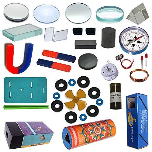Junior Scientist® Educational Lens, Mirror, Prism, Magnetism & ELECTROMAGNETISM with Periscope, Kaleidoscope, PINHOLE CAMRA DIY STEM KIT for School Student- Boys & Girls