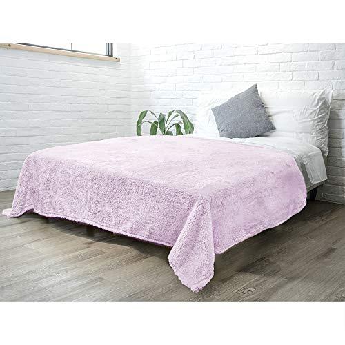 PAVILIA Flauschige Sherpa-Bettdecke für Queen-Size-Bett, Lavendel-Lila   superweiche flauschige Zottel-Fleecedecke   Kuschelige warme Tagesdecke Tagesdecke, Bettüberwurf 90 x 90 cm