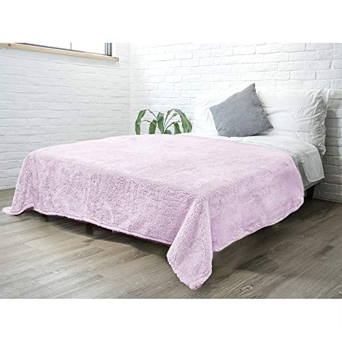 PAVILIA Fluffy Sherpa Bed Blanket King, Lavender Light Purple | Plush Super Soft Fuzzy Shaggy Fleece Blanket Comforter for Bed | Cozy Warm Decorative Furry Faux Fur Bedspread Coverlet Bed Cover 90x108