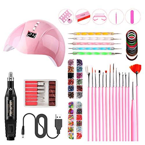 Gel Nail Polish Lamp Starter Kit 24W UV LED Nail Dryer 15 Nail Art Painting Brushes, Manicure Tape, Color Rhinestones, Tools Set