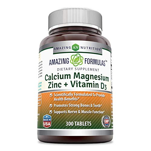 Amazing Formulas Calcium Magnesium Zinc + Vitamin D3 300 Tablets, Promotes Strong Bones & Teeth