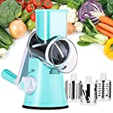 Manual Rotary Cheese Grater - Round Mandoline Slicer with Strong...