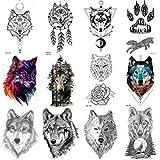 Coktak 12 Feuilles Forêt Réaliste Loup Tatouages éphémère Pour Hommes Art Corporel tatouage Temporaires Femmes Bras Tatouage Autocollants Enfants Tribal Coyote Animal Faux Adultes Tatouage Tattoos
