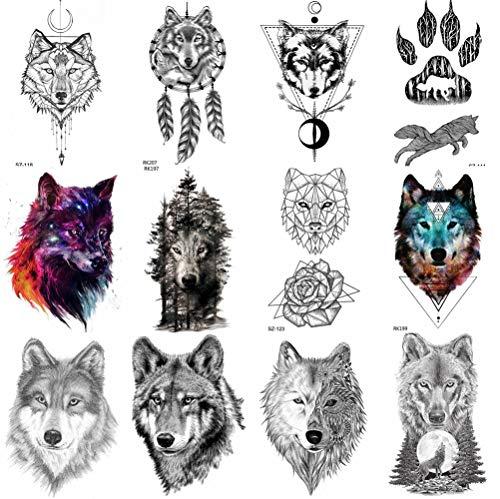 COKTAK 12 BläTter Wald Realistische Wolf TemporäRe Tattoos FüR MäNner KöRperkunst Frauen Tattoo Aufkleber Kinder GefäLschte Erwachsene Tattoos Wasserdicht Geometrische Schwarze TäTowierungen