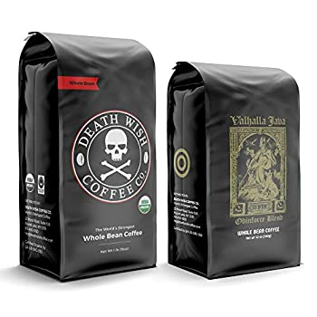 DEATH WISH Coffee The World's Strongest Coffee [1 lb] and VALHALLA JAVA Odinforce Blend [12 oz] Whole Bean Coffee Bundle/Bulk/Gift Set | USDA Certified Organic Fair Trade | Arabica and Robusta Beans