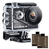 Gnolkee 4K 12MP WiFi Action Camera, 100 Feet Professional Waterproof Camera with 170 Ultra Wide Angle Lens, 2' IPS Screen Sports Camera with 19 Accessories and Carring Case for YouTube/Vlogging Video