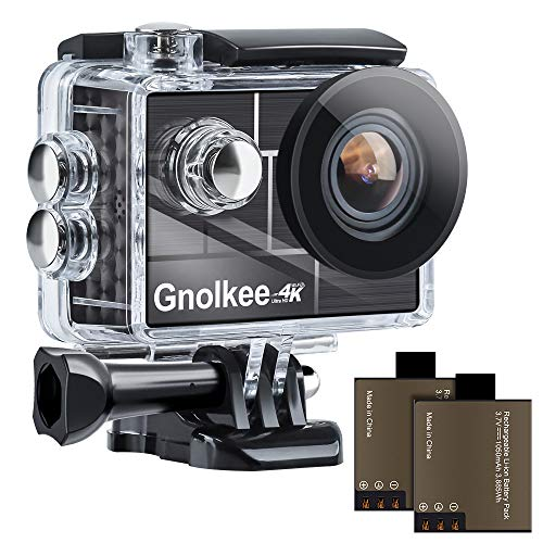 Gnolkee 4K WiFi Action Camera, 100 Feet Waterproof Camera with 170 Ultra Wide Angle Lens, 2' IPS...
