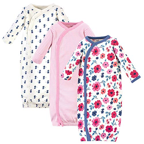 Touched by Nature Baby Organic Cotton Kimono Gowns, Garden Floral, 0-6 Months Georgia
