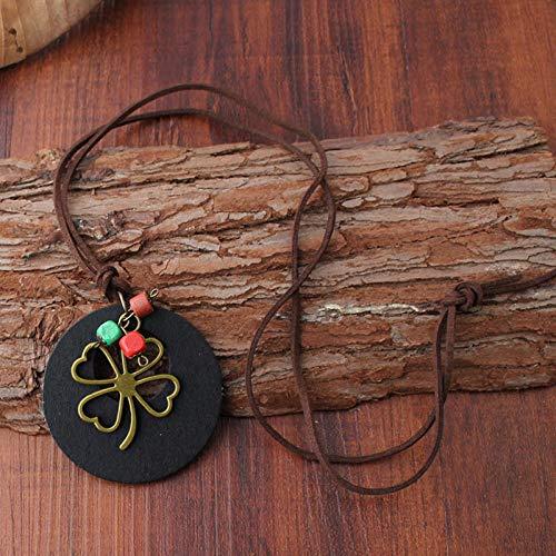 Relovsk vierbladige klaverhanger legering vierbladige klaver hanger trui ketting middelbare school student katoen en linnen kunst ventilator hout sieraden