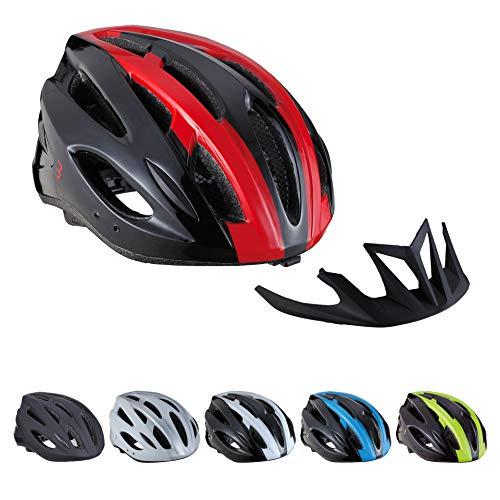 Bbb Cycling BBB Casco Condor | Hombres y Mujeres | Visera extraíble e Insectnet | MTB y Ciclismo de Carretera | BHE-35 Negro/Rojo M (54-58 cm), Unisex