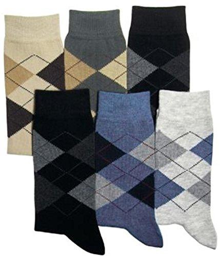 normani 6 Paar Herren Karo Socken mit Elasthan und breitem Komfortbund Größe 39-42